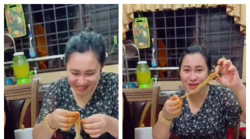 [Video] Malaysian woman shocked after finding RM11,000 gold bracelet gift hidden in food